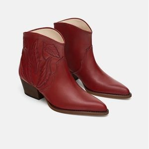 🆕 Zara Embroidered Leather Cowboy Ankle Boots NWT